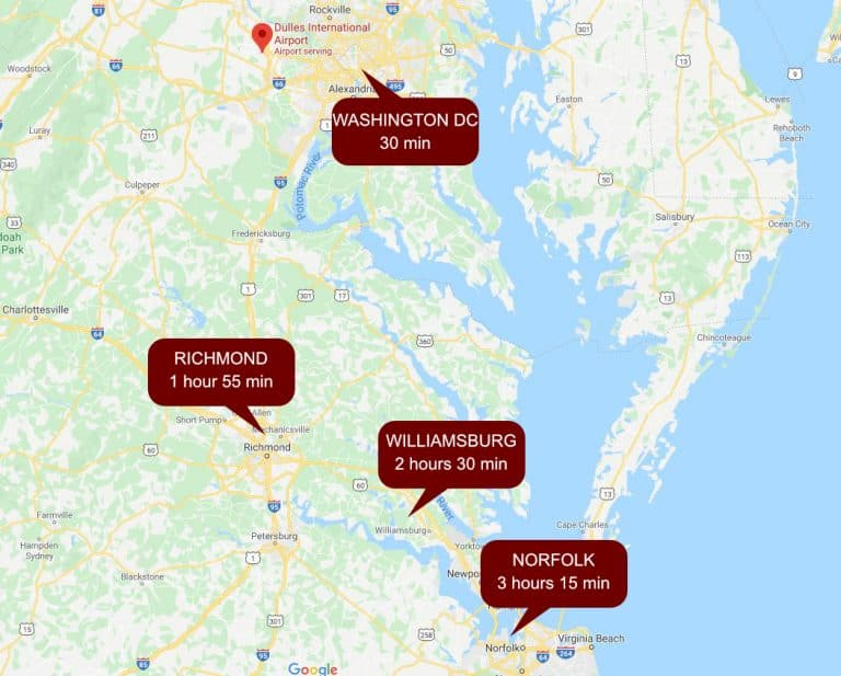 airport to destination mapped (Dulles)